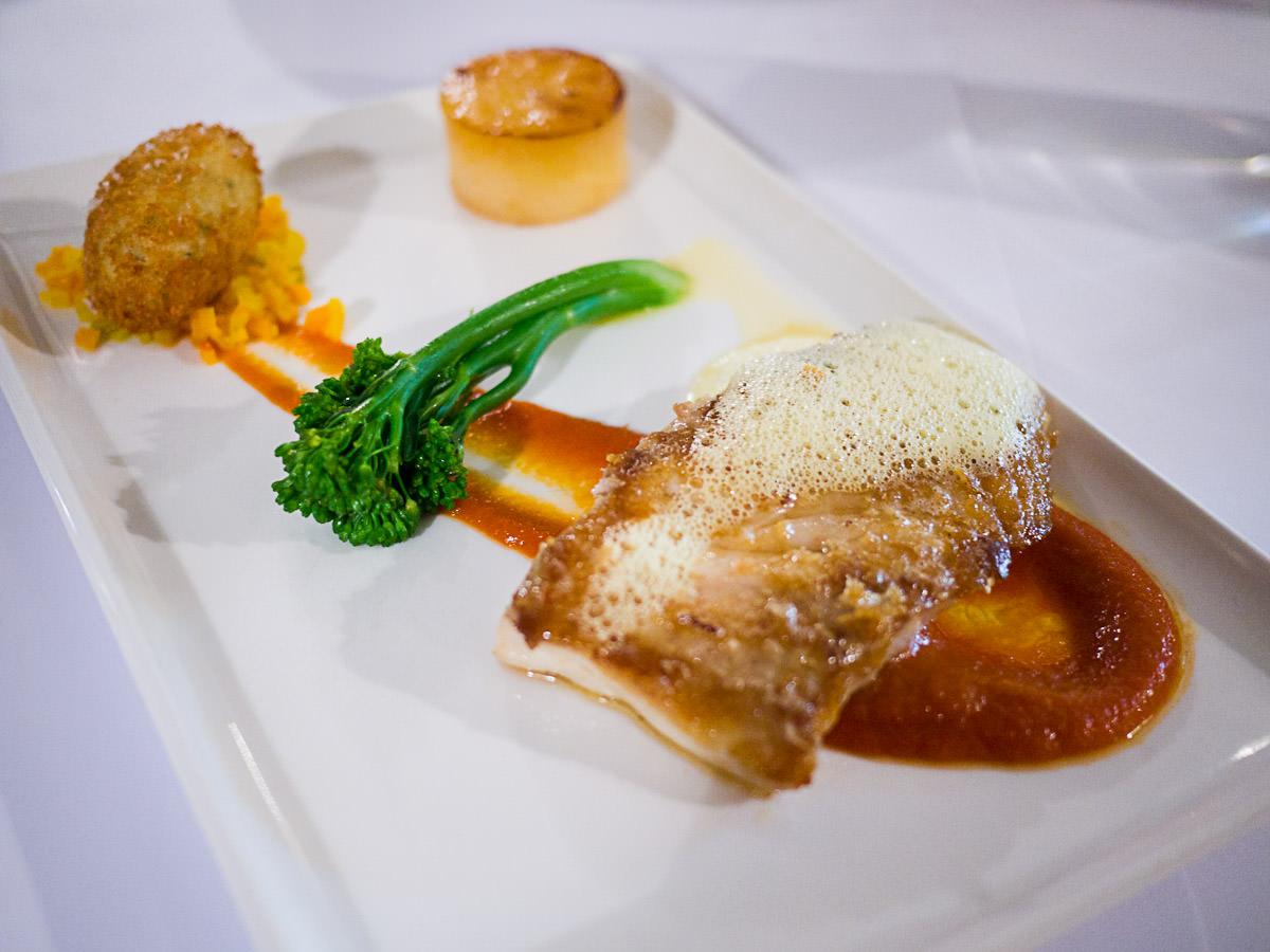 King snapper, fondant potato, crab croquette, saffron soffrito, tomato and broccolini (AU$38)