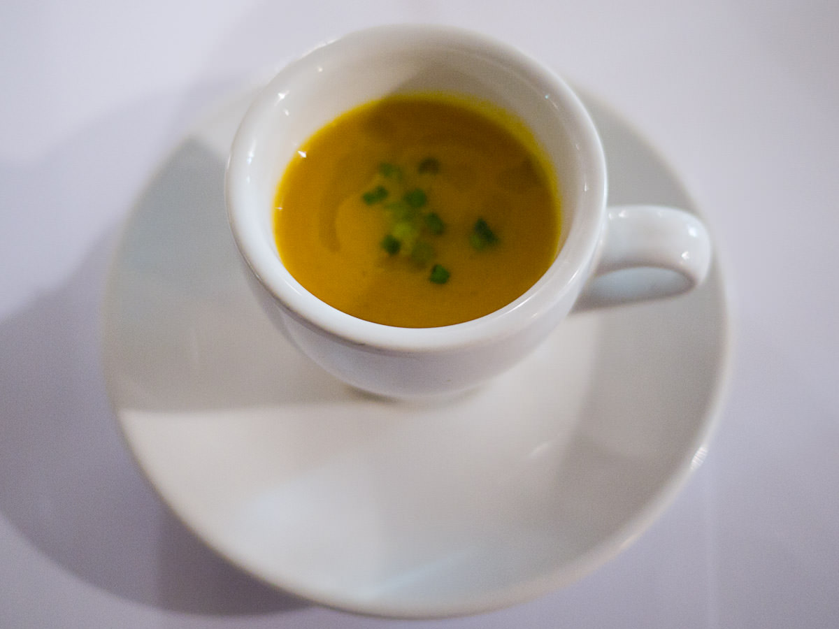Complimentary amuse bouche - carrot and cumin soup