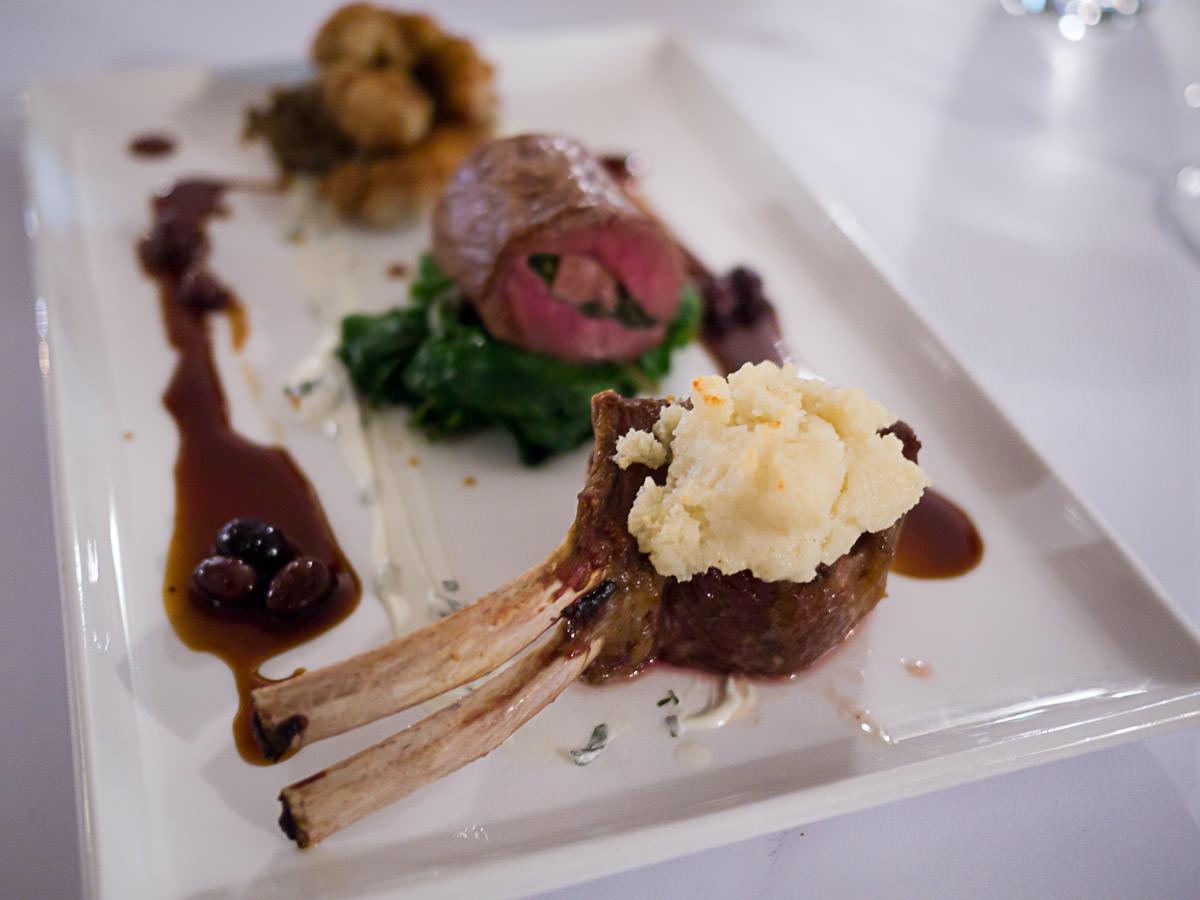 Lamb cutlet, feta crumble, sauteed sweetbread, roualde, silverbeet, wild olive jus, eggplant (AU$38)