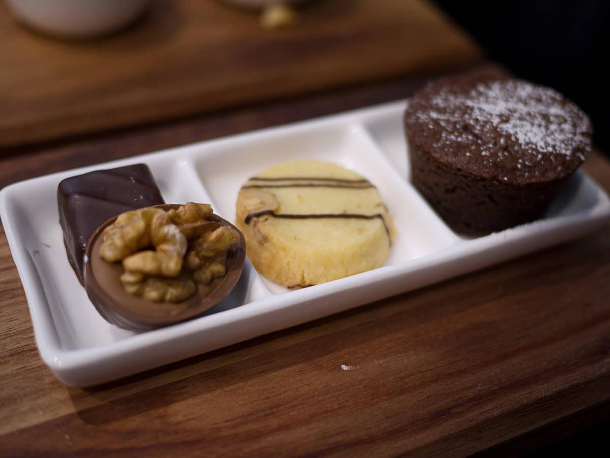 Chocolates, shortbread, chocolate cake