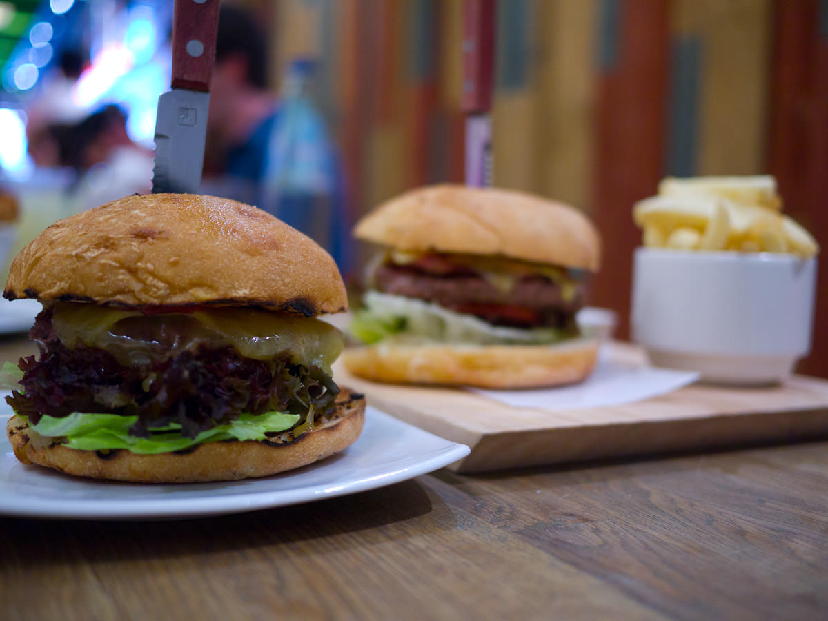 Organic Beef burger and Pommy burger