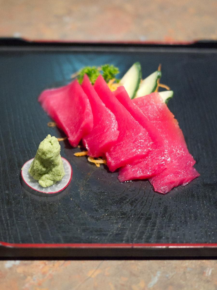Tuna sashimi (small AU$10.80. Also available in large AU$19.50)