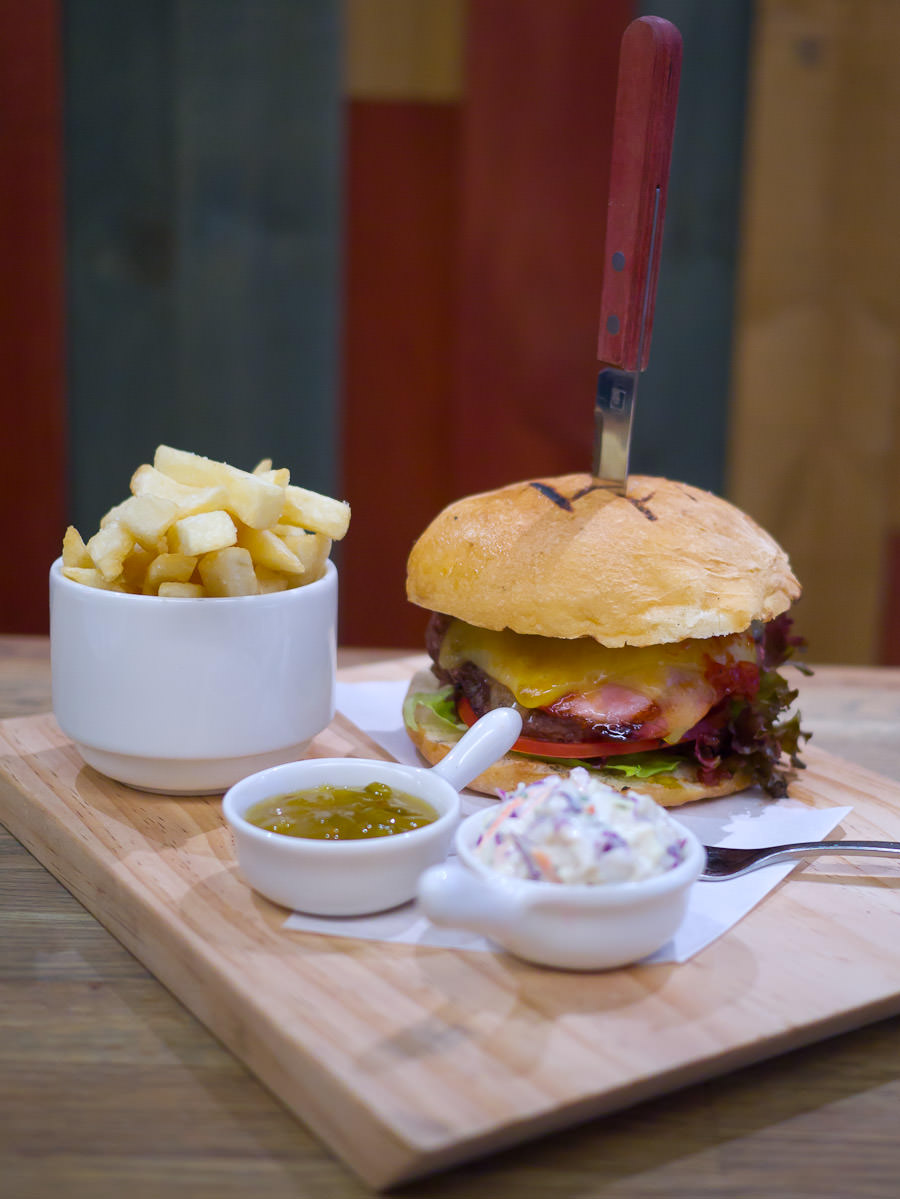 Pommy Burger meal deal - burger, fries, green tomato pickle, coleslaw