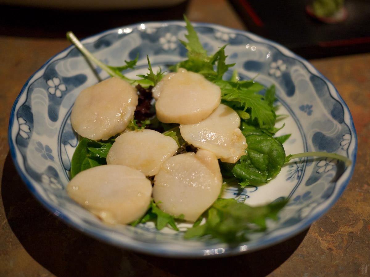 Scallop batoyaki (scallops panfried in butter, AU$7.90)
