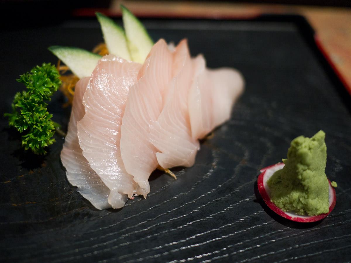 Kingfish sashimi (small AU$10.80. Also available in large AU$19.50)