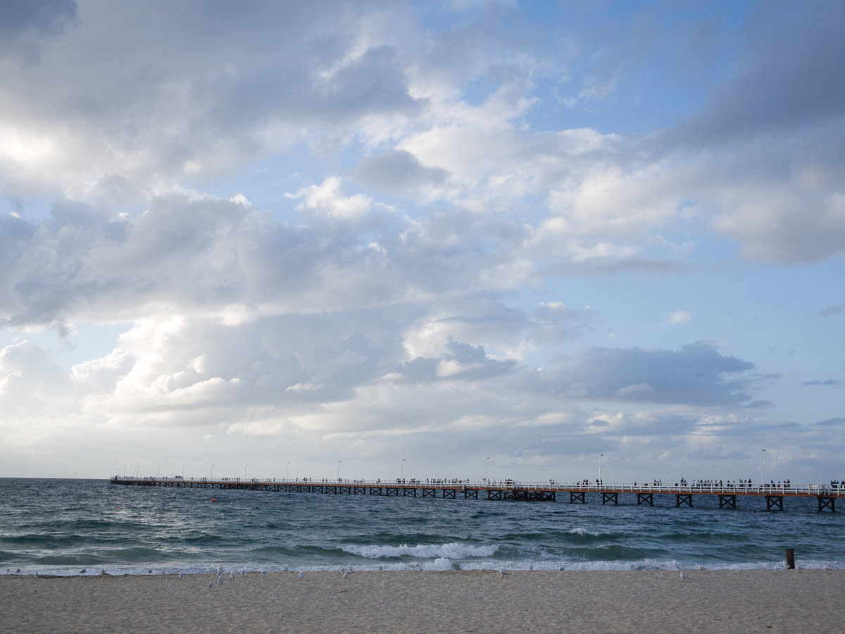 Busselton Jetty stretches 1.8km out into the ocean