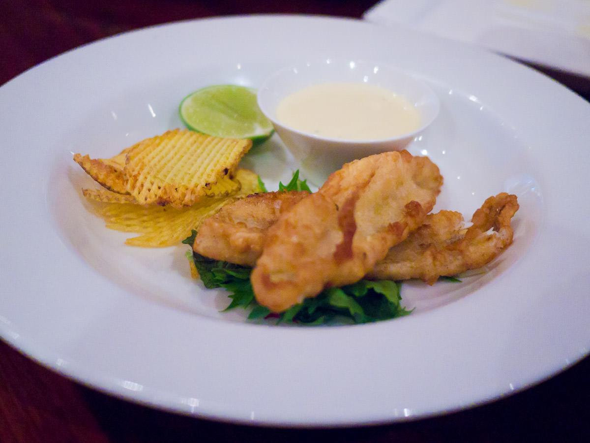 Tempura Shark Bay whiting fillets, potato crisps, lime aioli (AU$18)