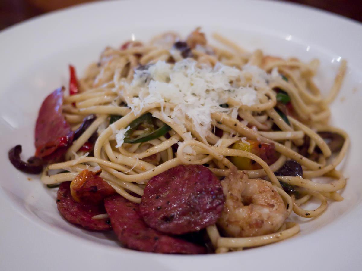 Linguine, cacciatore, carnavon king prawns, olives, chilli, grape tomatoes, basil, lime oil and parmesan (AU$39.50)