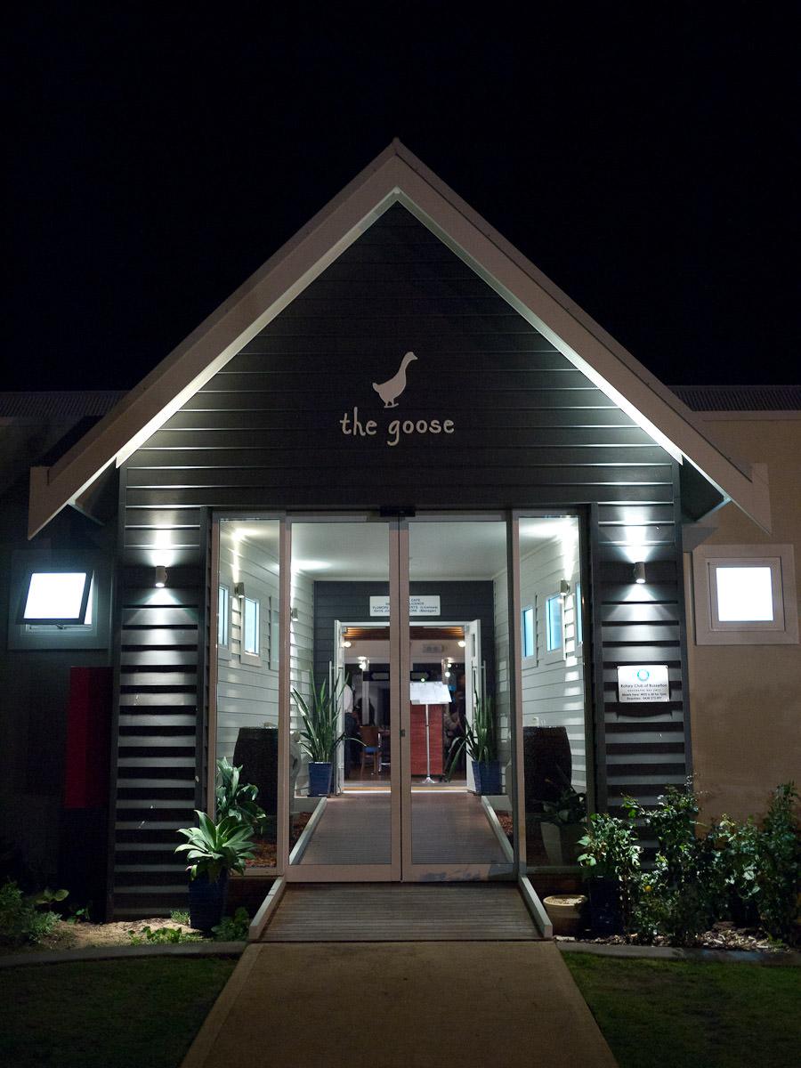The Goose restaurant at night