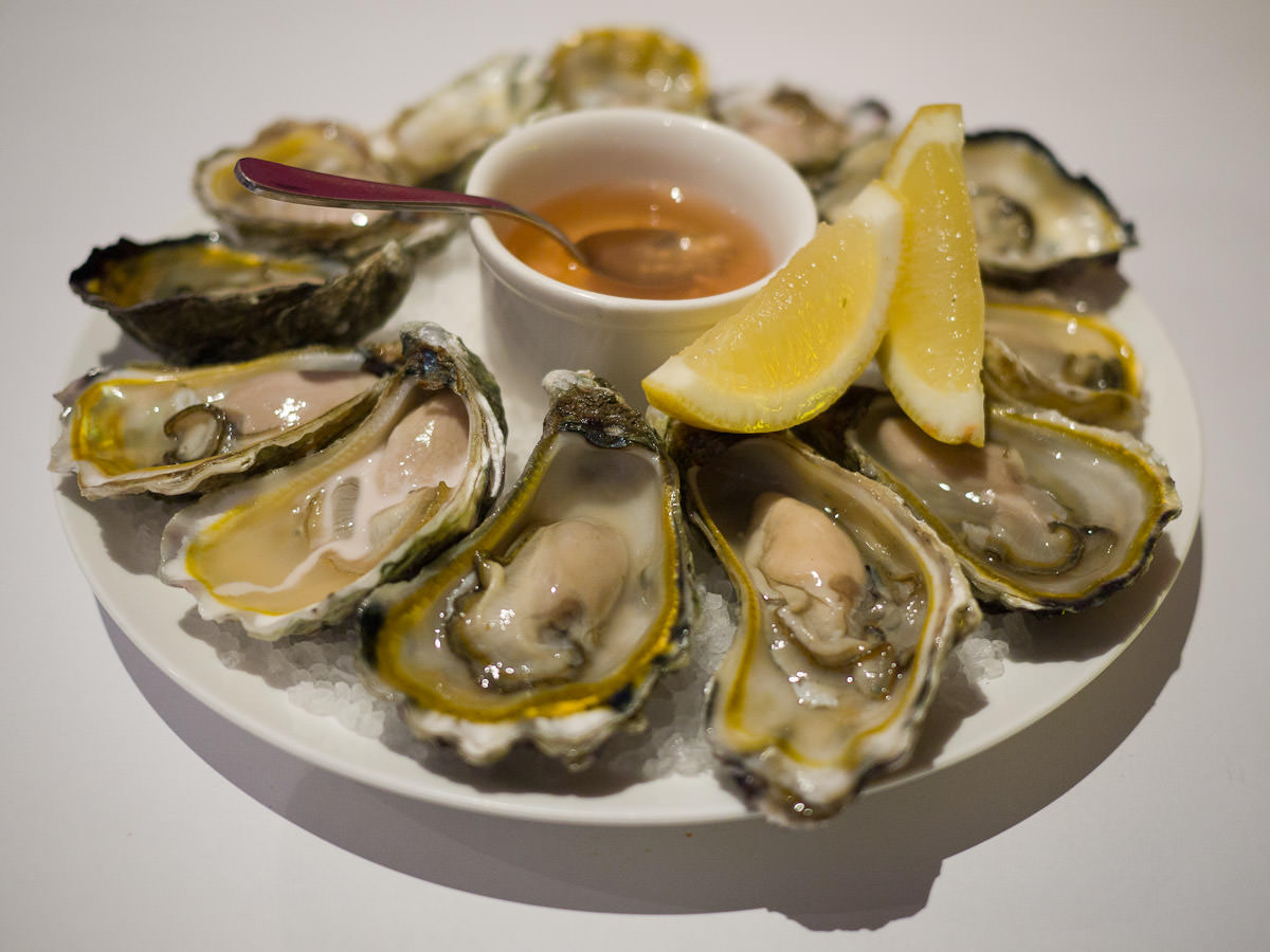 A dozen freshly shucked Albany rock oysters natural with champagne and shallot vinegar (AU$40)
