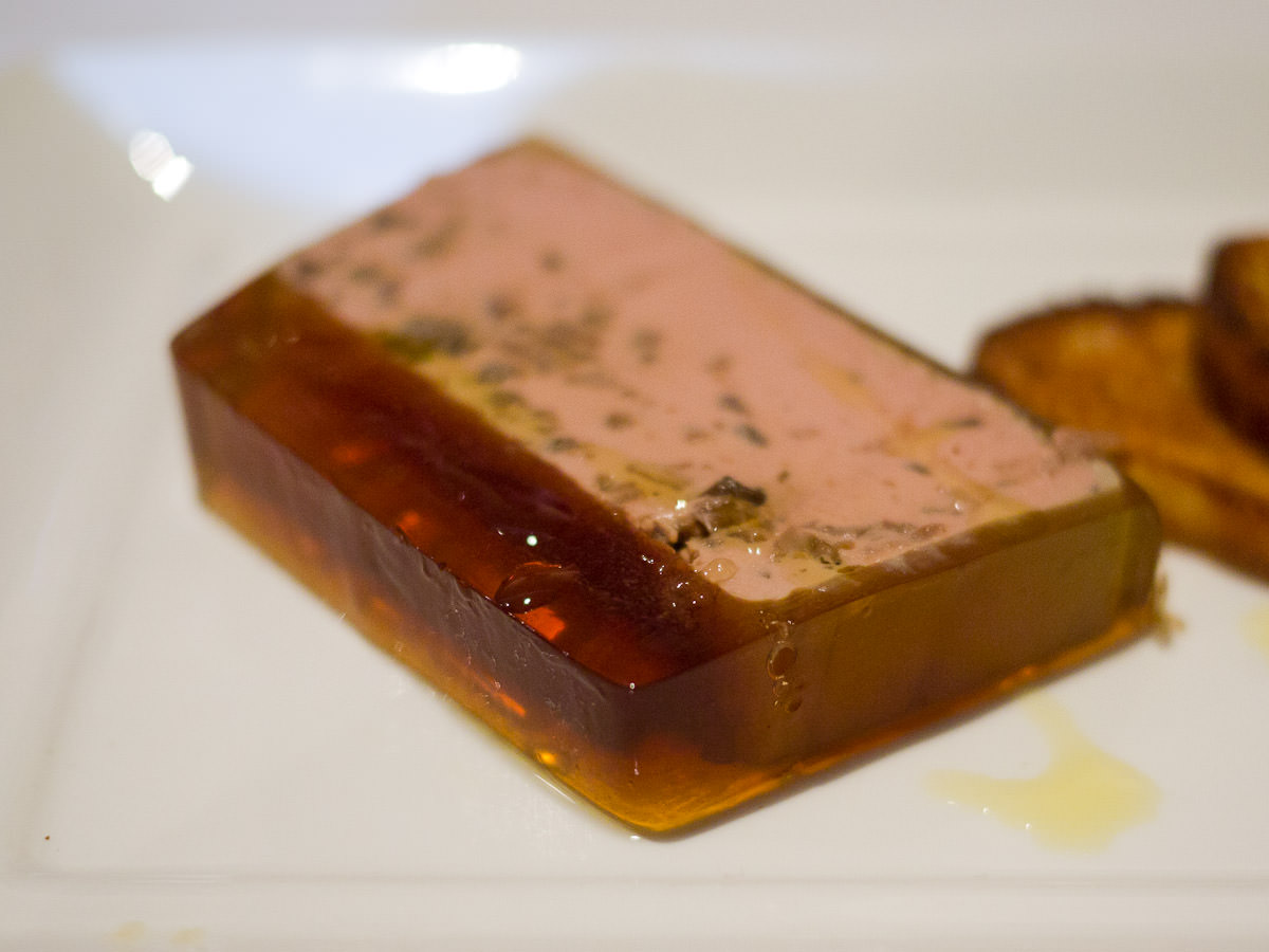 Chicken liver and porcini mushroom parfait with duck jelly - close-up