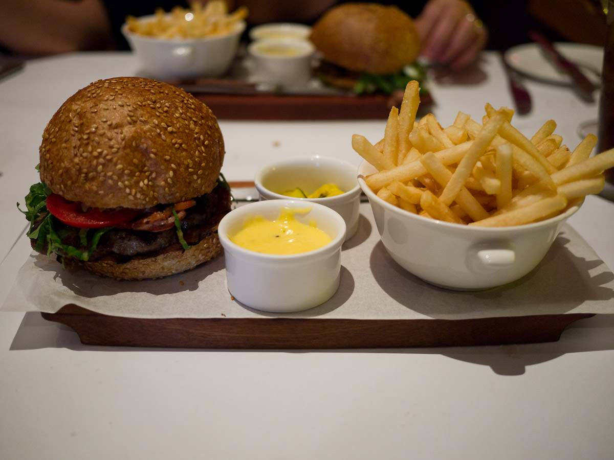 Butterfield burger with zucchini pickles, frites and bearnaise (AU$24)