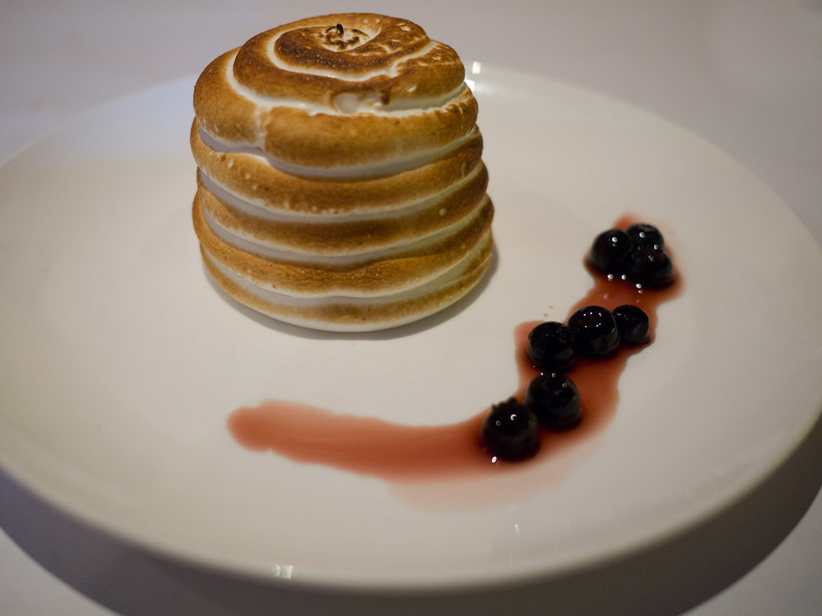 Must raspberry bombe Alaska with balsamic blue berries (AU$16)
