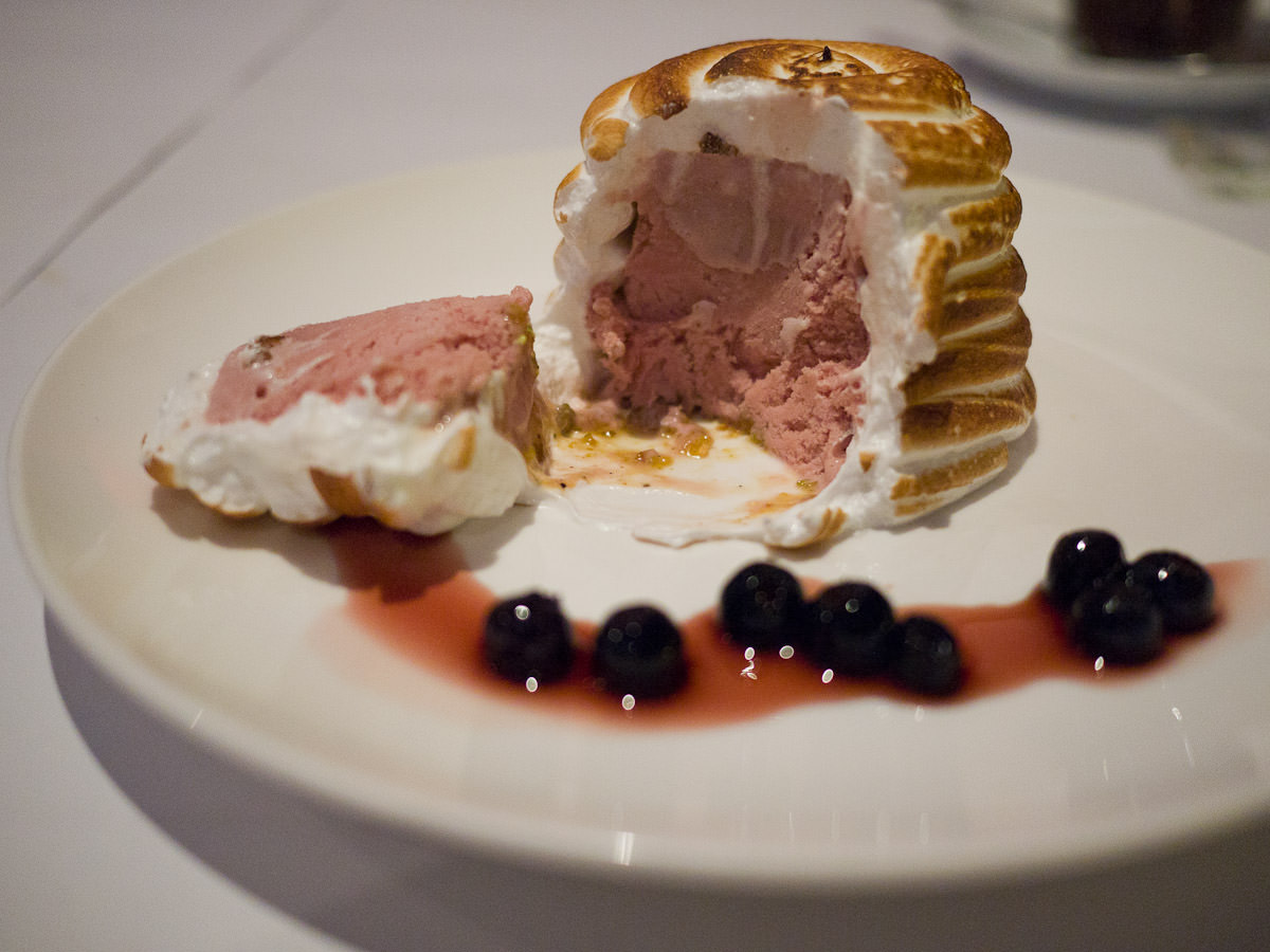 Must raspberry bombe Alaska with balsamic blue berries - innards (AU$16)