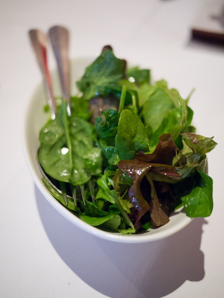 Oasis hydroponic mixed green leaves, red wine vinaigrette (AU$7)