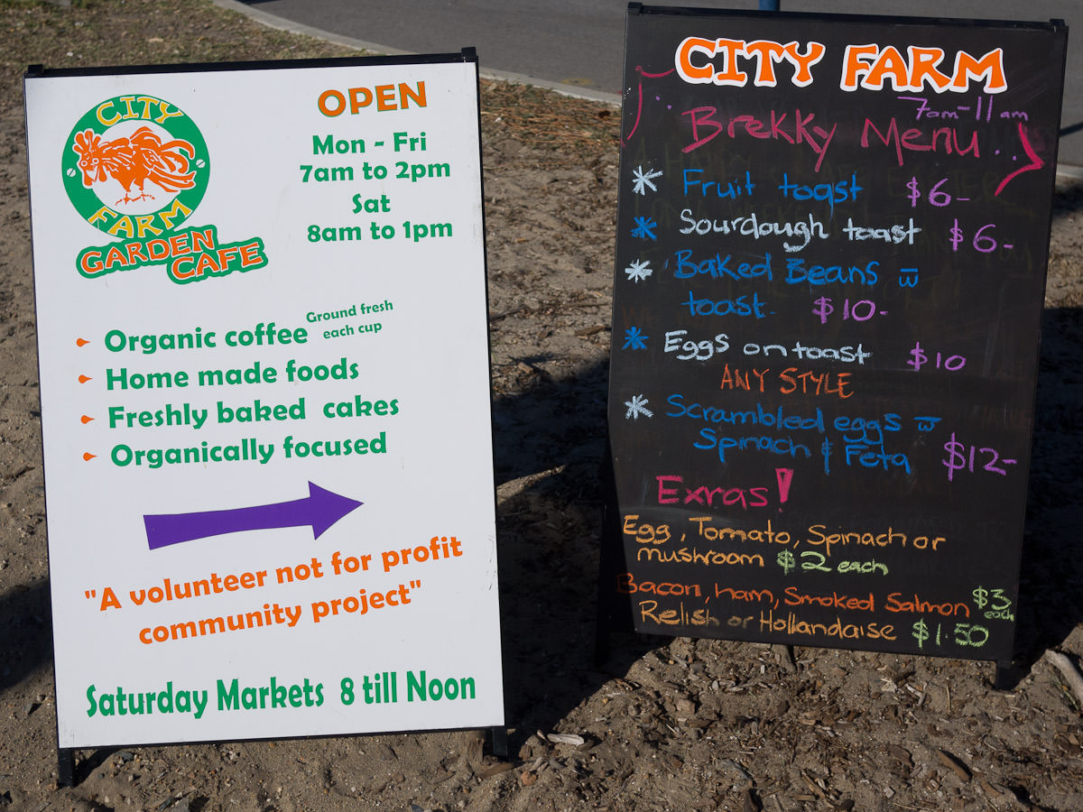 City Farm Cafe sign and breakfast menu