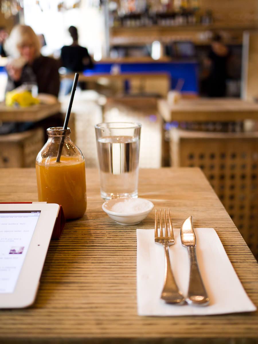 iPad, fresh OJ, cutlery and anticipation