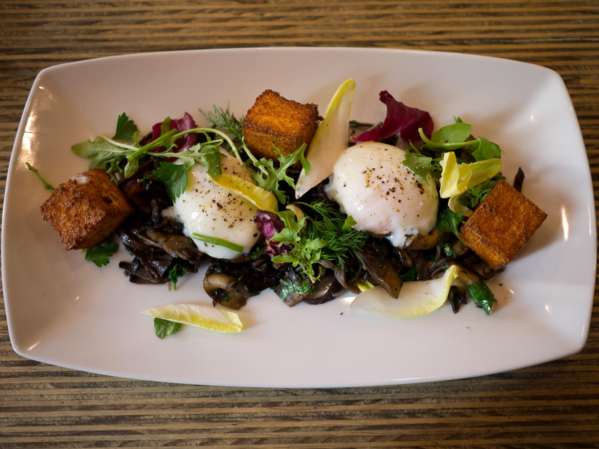 Wild mushrooms, slow cooked eggs and grilled polenta