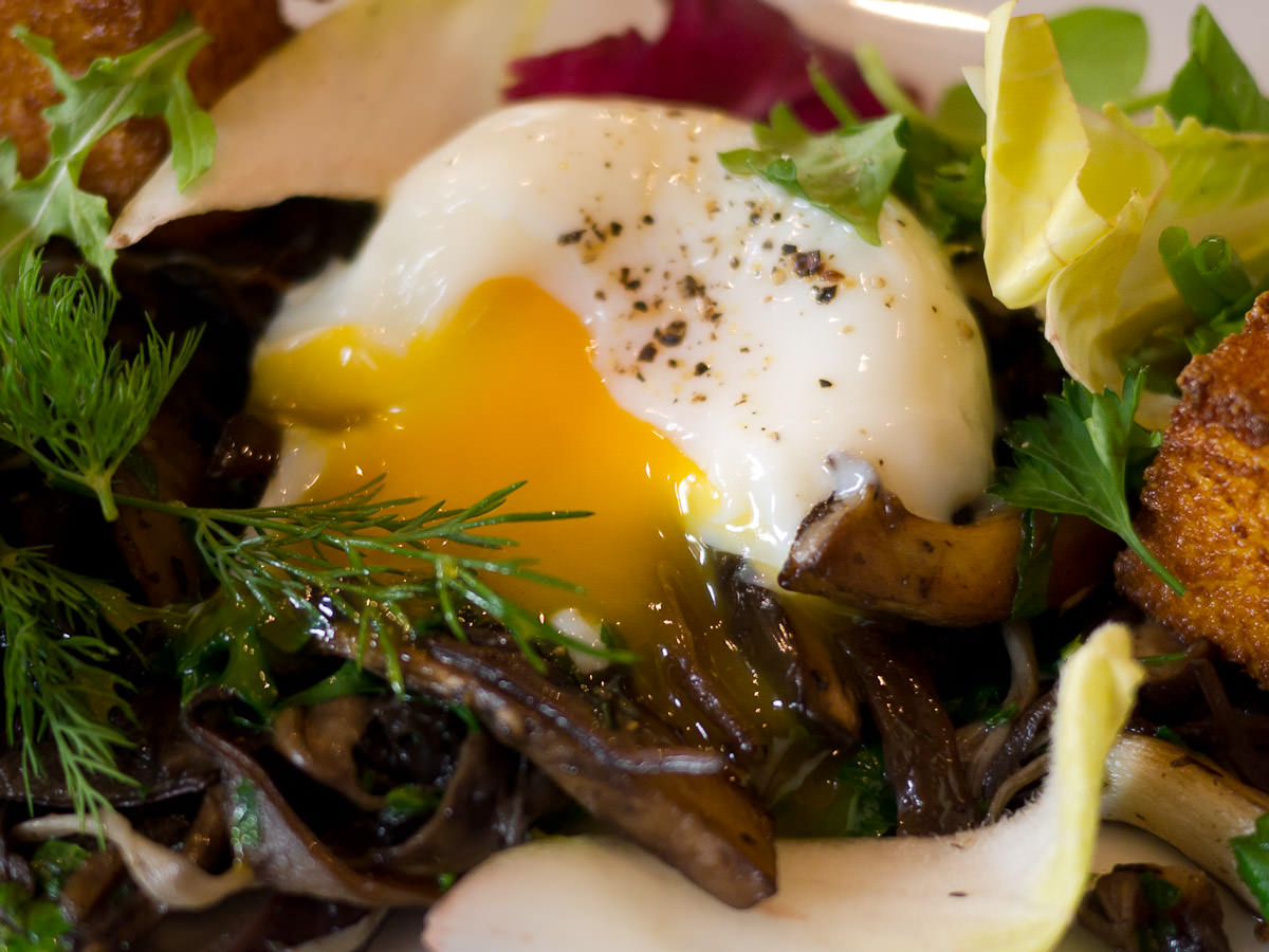 My first gooey slow cooked egg oozing over wild mushrooms
