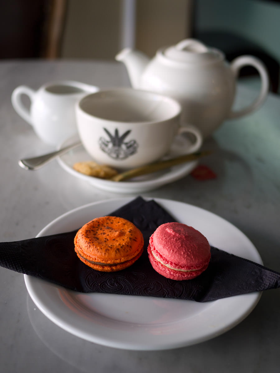 Strawberry and jaffa macarons and a pot of tea, Jean Pierre Sancho
