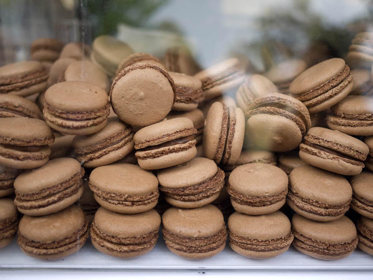 Dark chocolate macarons with truffle ganache, Rochelle Adonis