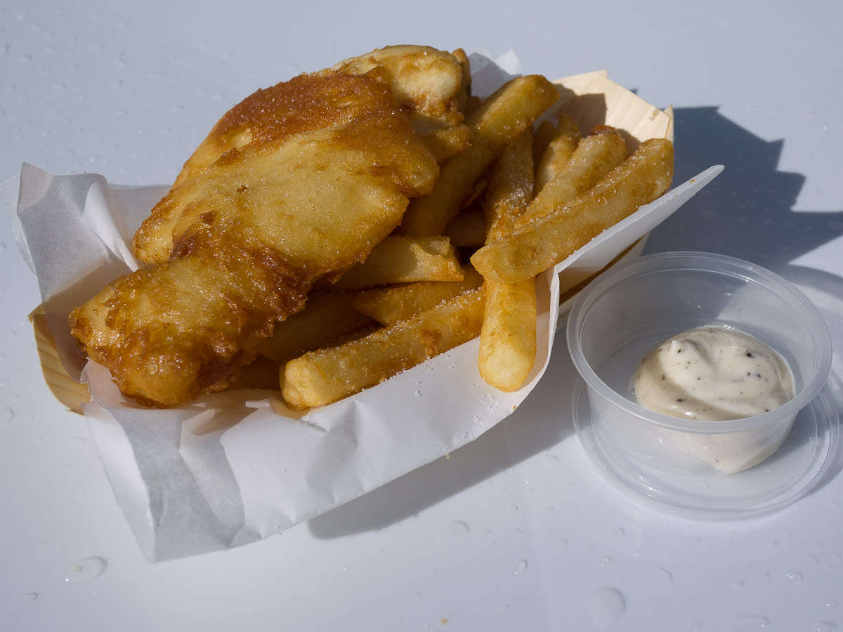 Incontro's fish and chips with truffle mayonnaise