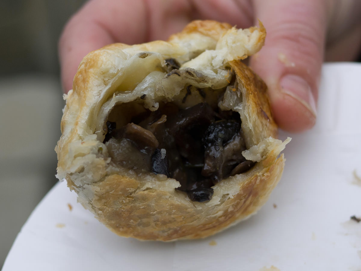 Wild mushroom and truffle pie (innards) from Creative Catering