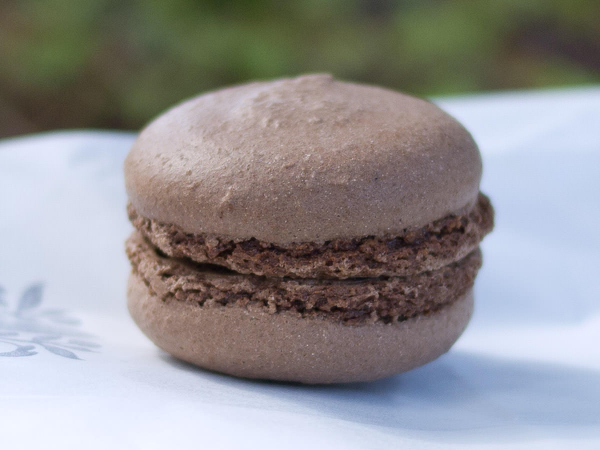 Dark chocolate macaron with truffle ganache, Rochelle Adonis