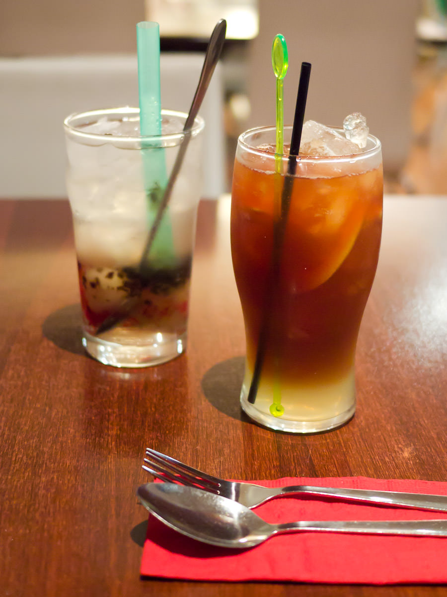 Iced lemon tea (AU$3.50) and lychee ice (AU$3.50)