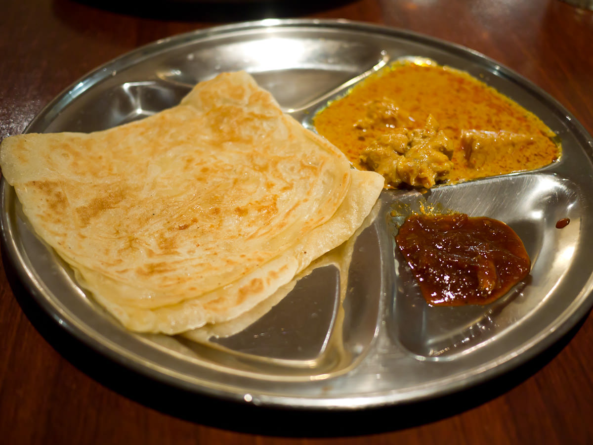 Roti canai with curry chicken (AU$5.50)