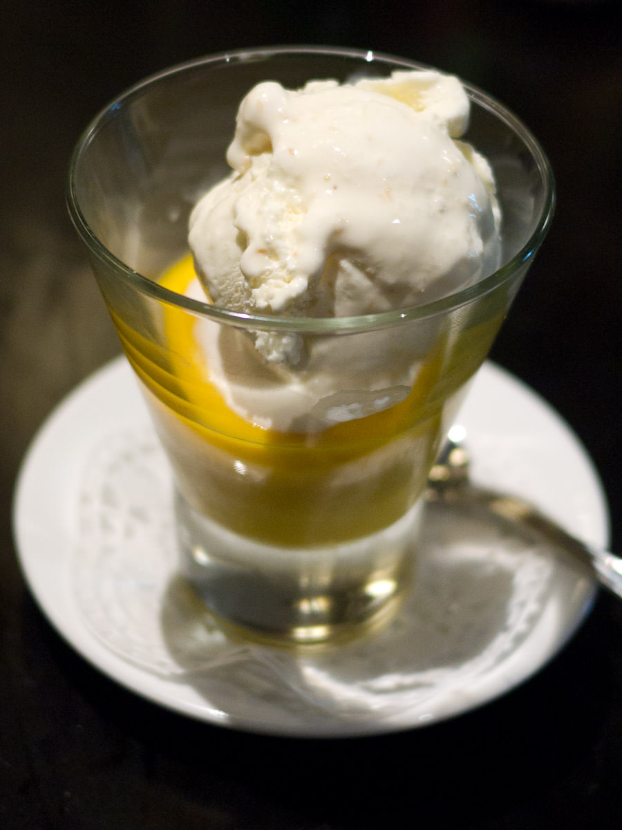 Mango pudding with coconut ice cream