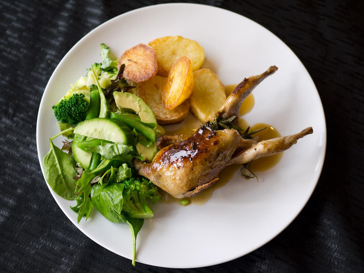 Honey mustard quail, oven roasted potato, green salad