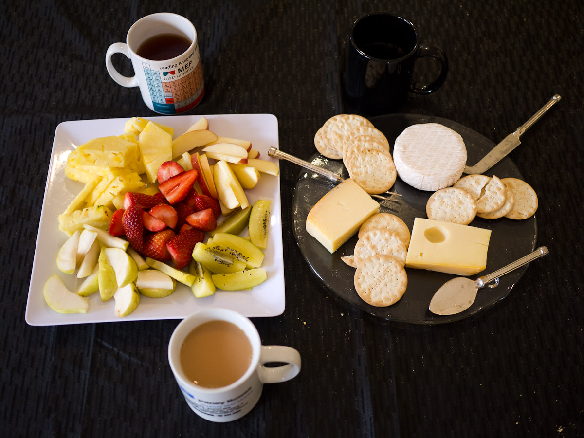 Cheese, crackers, fruit and tea