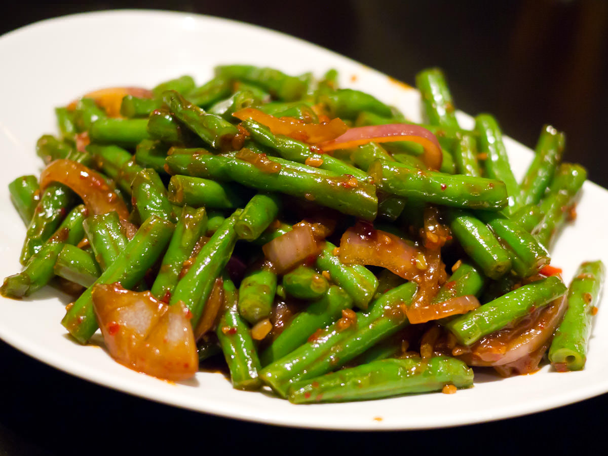 Stir-fried long beans with sambal