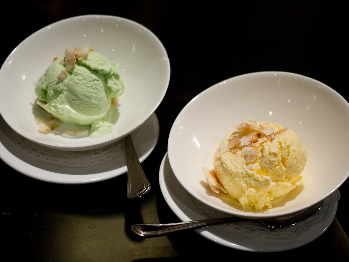 Pandan ice cream and jackfruit ice cream