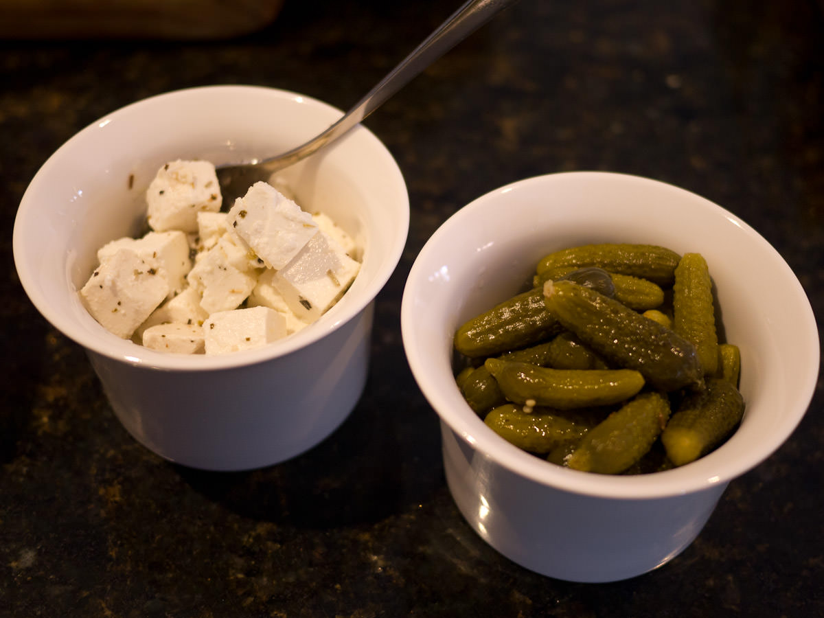Marinated feta and gherkin pickles