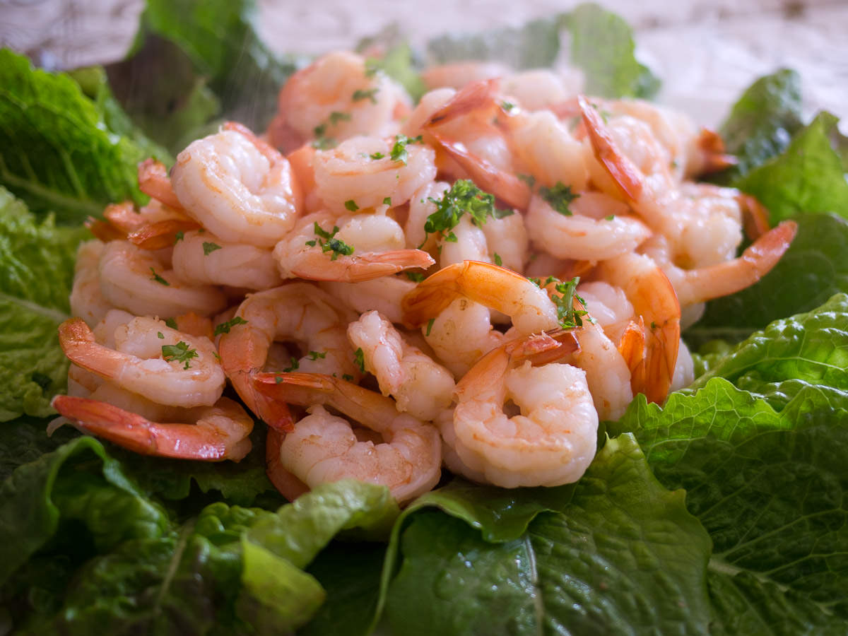 Prawns sauteed in butter and olive oil