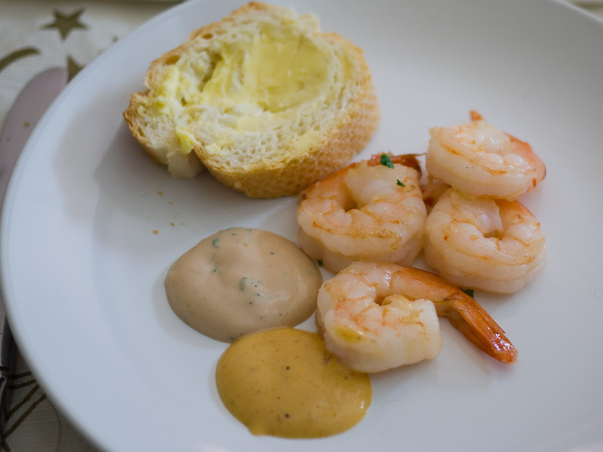 Prawns, dips and bread and butter
