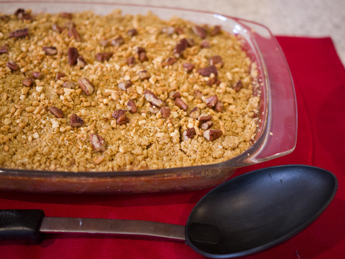 Apple and rhubarb crumble - fresh from the oven