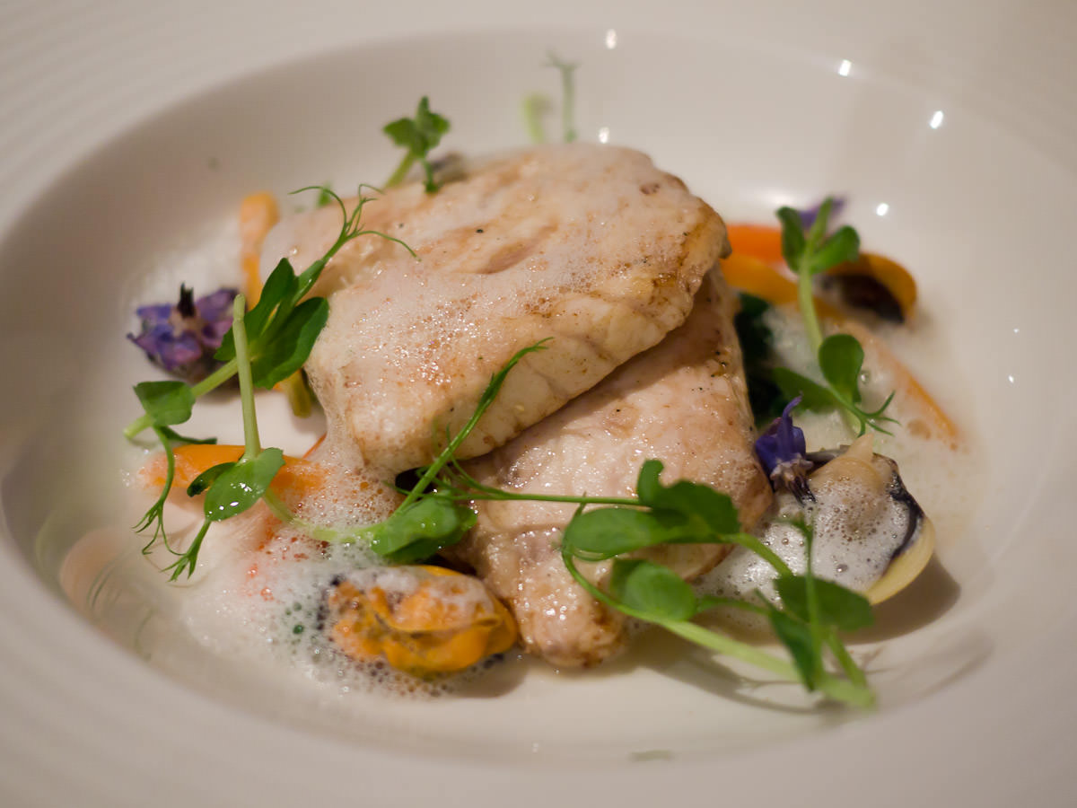 Line-caught Pigeon Island pink snapper, mussels, clams with a saffron emulsion (AU$44)