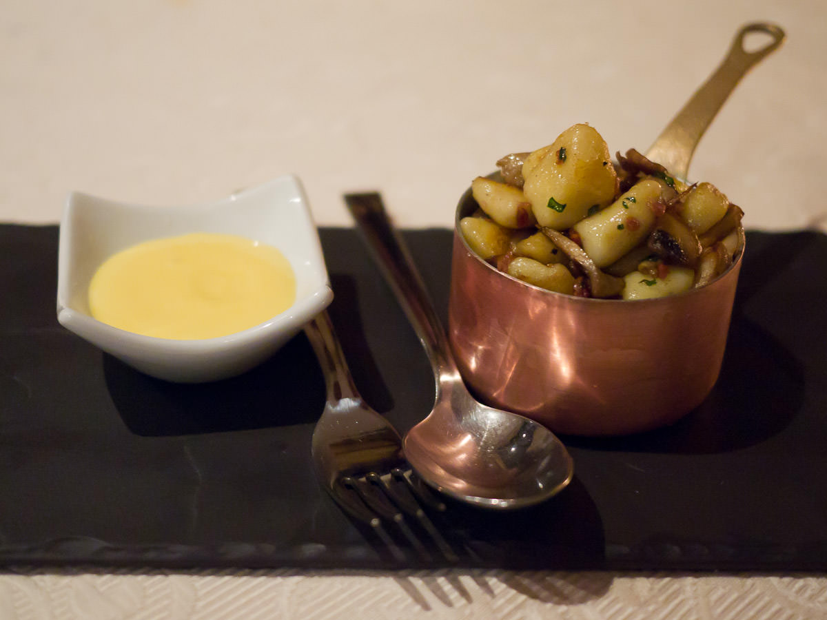 Saute royal blue potato and mushroom gnocchi with pancetta (AU$14)