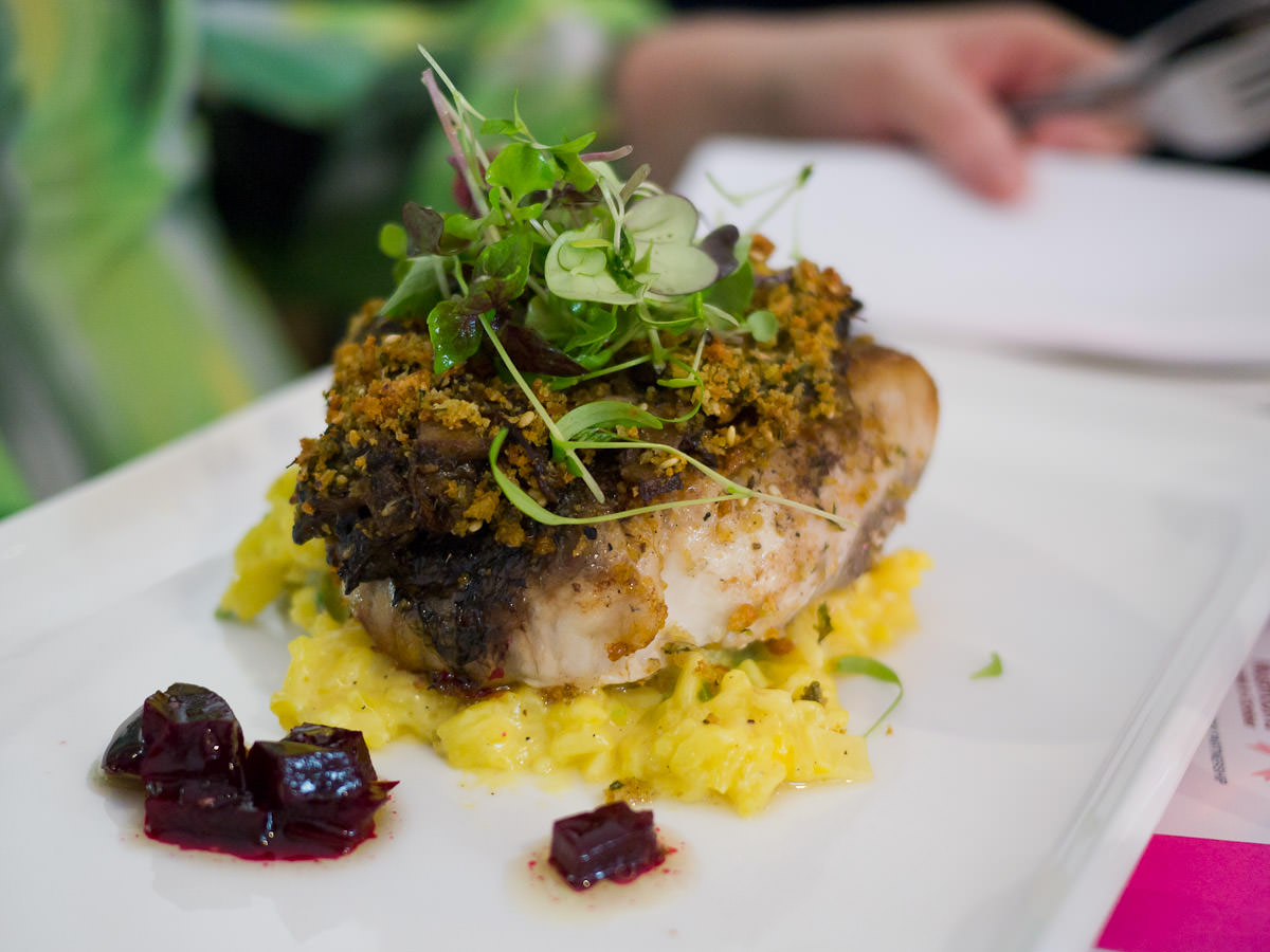 Grilled barramundi, mushroom za'atar ragu, herb lemon crust, saffron asparagus risotto, pickled beetroot