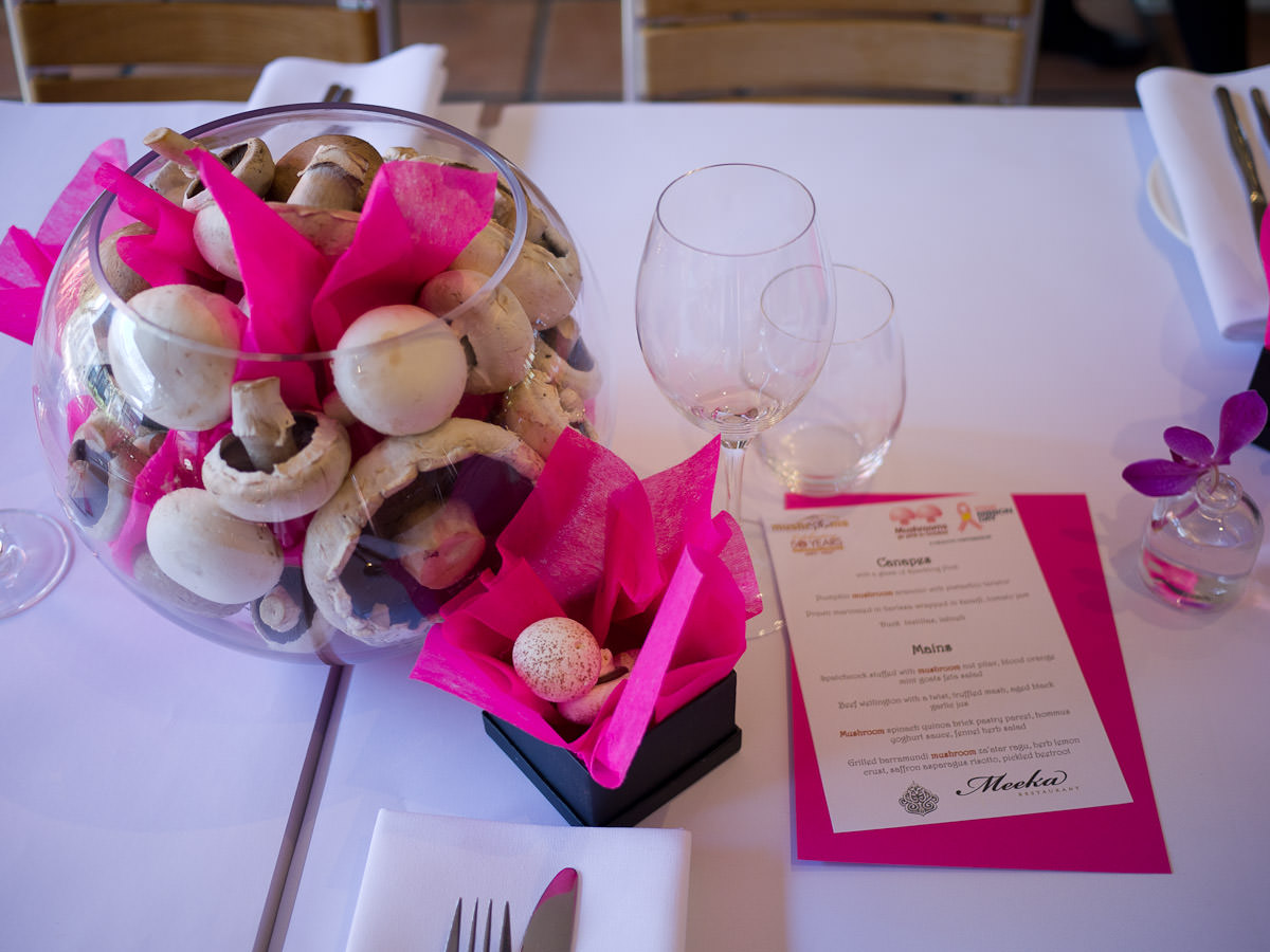 Table setting with mushrooms and pink