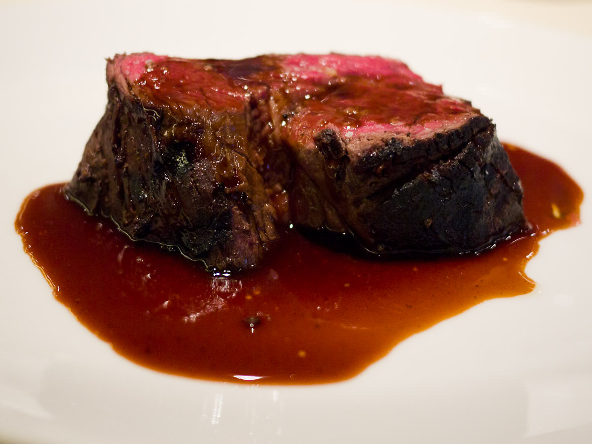 Slow cooked charred Rangers Valley beef fillet with red wine sauce