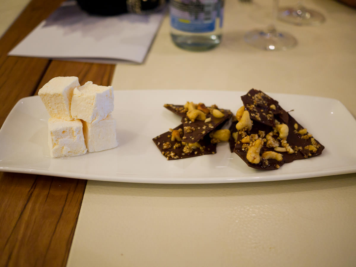 Cashew and sesame chocolate bark and passionfruit marshmallow
