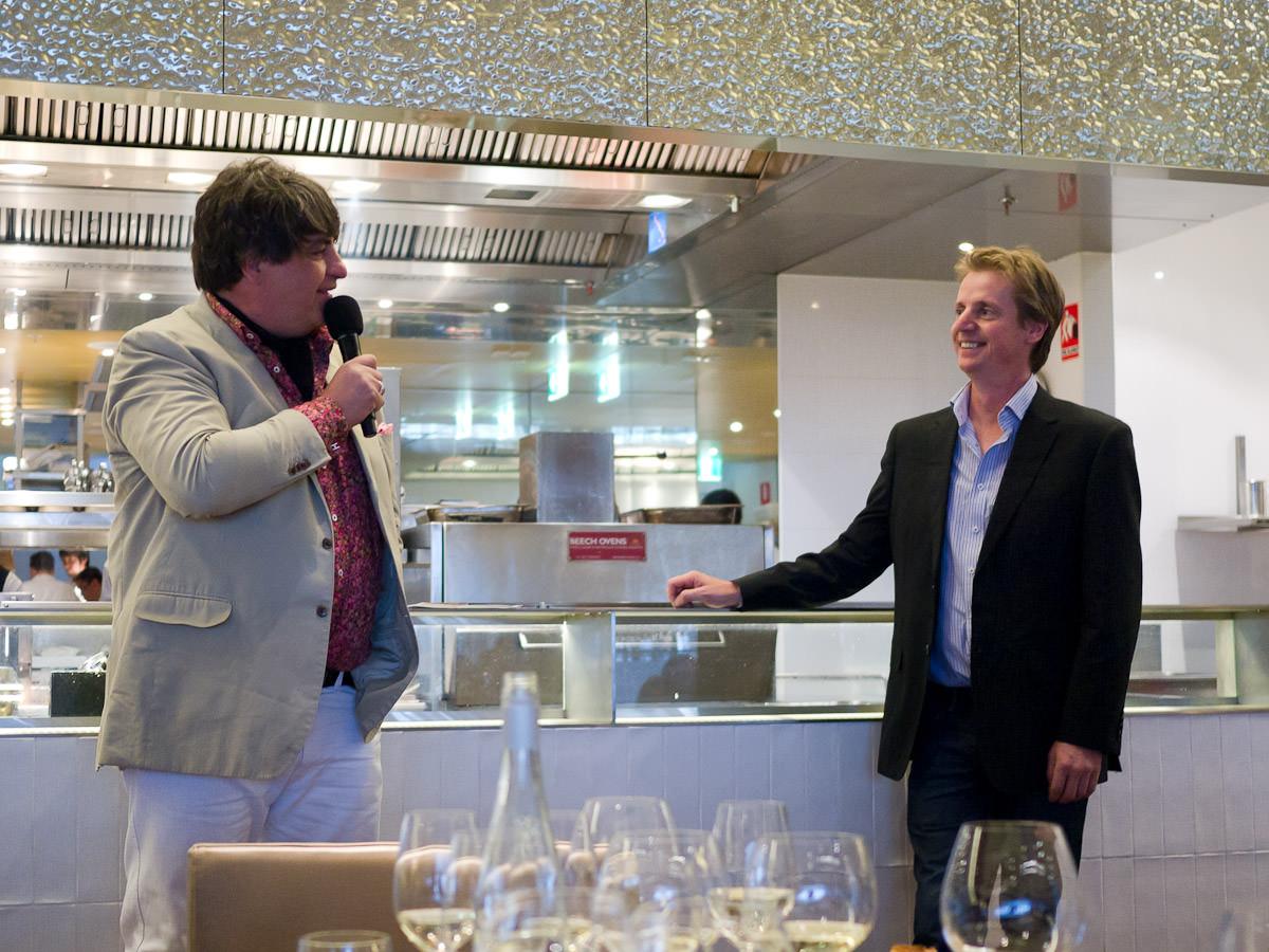 MC Matt Preston and Tom Carson, Qantas wine panel member