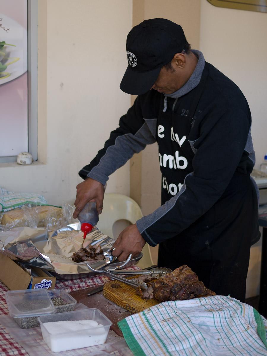 Mondo's roast meat sandwich assembly