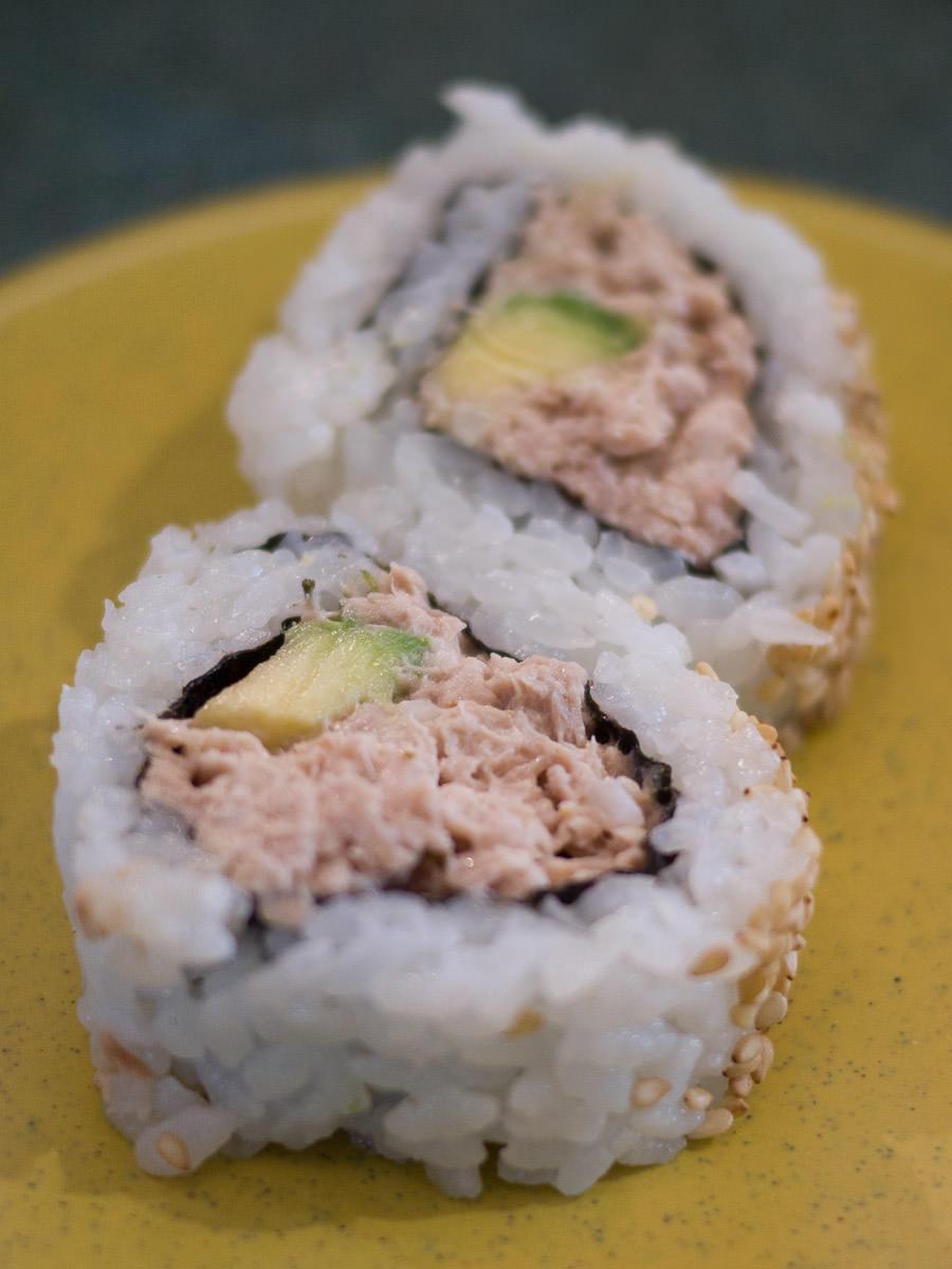 Tuna avocado inside-out maki