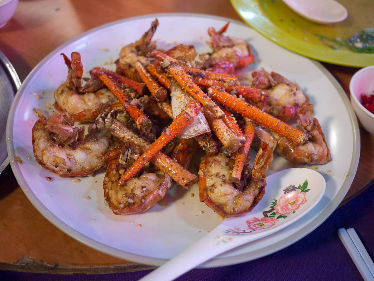 River prawns cooked with butter and garlic