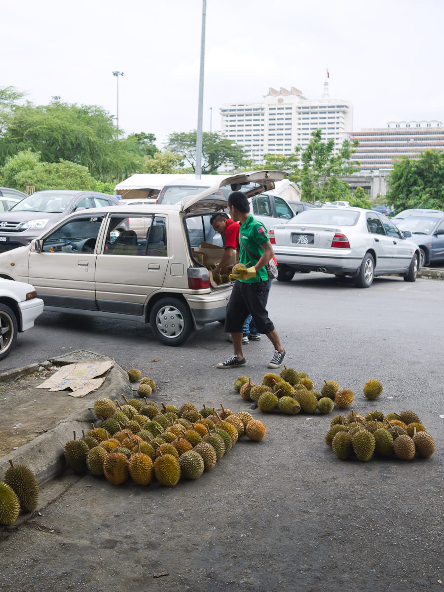 Getting the durians out of the car boot